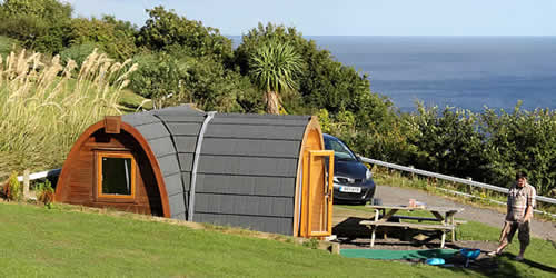 Snugs for Glamping at Bay View Farm Camping Site Looe Cornwall