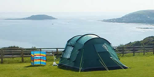 Enjoy the sea views from your tent at Bay View Farm C&ing Site & Camping and Motorhomes at Bay View Farm Camping Site Looe Cornwall